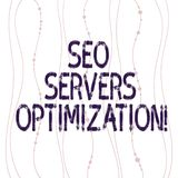 Textzeichen, das Seo Servers Optimization zeigt Begriffsnetzfunktion des fotos SEO an maximaler Leistungsfähigkeit Vertikale kurv vektor abbildung