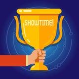 Textzeichen, das Showtime zeigt Begriffsfoto Zeit wird ein Spiel-Film-Konzert Perforanalysisce-Ereignis festgelegt, um zu beginne vektor abbildung