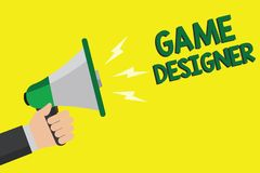 Textzeichen, das Spiel-Designer zeigt Grafiken Begriffsder foto Aktivist-Pixel-bemannen Skiptprogrammierer-Konsolen-3D das Halten vektor abbildung