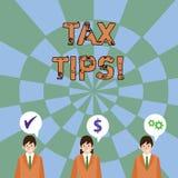 Textzeichen, das Steuer-Tipps zeigt Obligatorischer Beitrag des Begriffsfotos zu den Staatseinnahmen erhoben von Regierung Geschä vektor abbildung