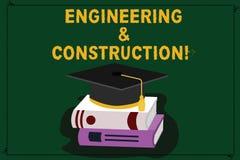 Textzeichen, das Technik und Bau zeigt Begriffsfoto, das Fachkenntnisse an Infrastruktur Farbe anwendet lizenzfreie abbildung