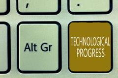 Textzeichen, das technologischen Fortschritt zeigt Begriffsfoto Gesamtprozeß der Erfindungs-Innovations-Diffusion lizenzfreie stockfotografie