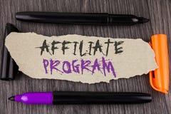 Textzeichen, das Teilnehmer-Programm zeigt Begriffsfoto-Software-Linklieder apps Bücher und verkaufen sie, um das Geld zu erwerbe stockbilder