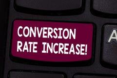 Textzeichen, das Umwandlung Rate Increase zeigt Begriffsfoto Prozentsatz von Benutzern, die eine gewünschte Aktion Taste Absicht  stock abbildung