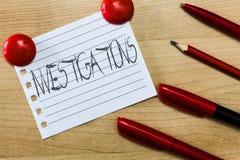 Textzeichen, das Untersuchungen zeigt Begriffsfoto die formale Aktion oder die systematische Prüfung über etwas lizenzfreies stockbild