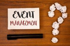 Textzeichen, das Veranstaltungsmanagement zeigt Begriffsfoto spezielle Gelegenheits-Zeitplan-Organisation vereinbaren Tätigkeits- stockbilder