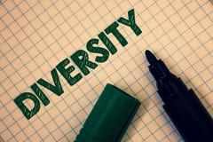 Textzeichen, das Verschiedenartigkeit zeigt Begriffsfoto, das aus dem unterschiedliche Elemente verschiedene Vielzahl-multiethnis stockbild