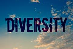 Textzeichen, das Verschiedenartigkeit zeigt Begriffsfoto, das aus unterschiedliche Elemente verschiedene Vielzahl-den multiethnis lizenzfreies stockfoto
