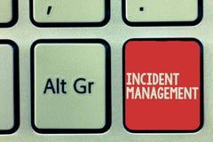 Textzeichen, das Vorfall-Management zeigt Begriffsfoto Prozess zur Gegenleistung zu den normalen korrekten Gefahren lizenzfreies stockfoto