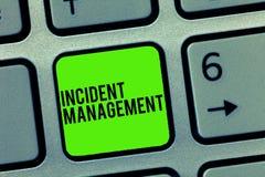 Textzeichen, das Vorfall-Management zeigt Begriffsfoto Prozess zur Gegenleistung zu den normalen korrekten Gefahren stockfoto