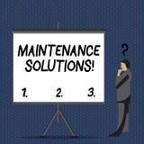 Textzeichen, das Wartungs-Lösungen zeigt Begriffsfotoservice stellte zur Verfügung, um ein Produkt in gutem Zustand zu halten stock abbildung