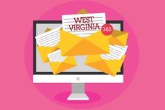 Textzeichen, das West Virginia zeigt Begriffsstaats-Reise-Tourismus-Reise-historisches Computerempfangen der foto Vereinigten Sta Lizenzfreie Stockbilder