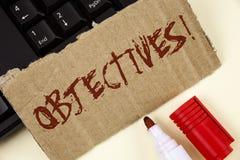 Textzeichen, das Zielen Motivanruf zeigt Begriffsfoto Ziele planten erzielt zu werden wünschten die Ziele, die auf Riss-Karte ges lizenzfreie stockfotografie