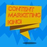 Textzeichen, das zufriedenen vermarktenden König zeigt Begriffsfoto Inhalt ist zum Erfolg einer Website faltete 3D zentral lizenzfreie abbildung