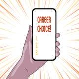 Textzeichen-Vertretung Berufswahl Begriffsfotoauswahl eines bestimmten Weges oder der Berufung im Hinblick auf Karriere stock abbildung