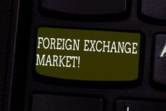 Textzeichen-Vertretung Devisenmarkt Globaler dezentralisierter Handel des Begriffsfotos der Währungen Taste lizenzfreie stockbilder