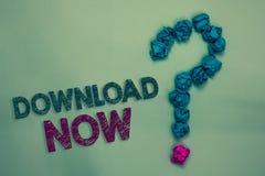 Textzeichen-Vertretung Download jetzt Das Begriffsfoto, zum von Programmen oder von Informationen in ein anderes Gerät zu kopiere lizenzfreie stockbilder