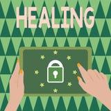 Textzeichen-Vertretung Heilung Begriffsfotoprozeß der Herstellung oder des Werdens solides oder gesundes wieder helfen verletzt lizenzfreie stockfotos