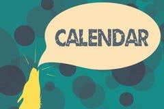 Textzeichen-Vertretung Kalender Begriffsfoto paginiert das Zeigen von Tageswochenmonaten bestimmter Jahr Anzeige lizenzfreie abbildung