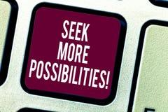 Textzeichen-Vertretung Suchvorgang mehr Möglichkeiten Begriffsfoto Suche oder die Gelegenheiten von Joint Venture Tastatur finden stock abbildung