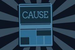 Textzeichen-Vertretung Ursache Begriffsfoto Person Thing, das ein Aktionsphänomen und -zustand verursacht stock abbildung