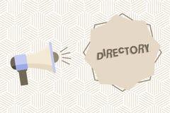 Textzeichen-Vertretung Verzeichnis Begriffsfotobuch oder -website, die alphabetisch Einzelpersonenorganisationen Megaphon auflist vektor abbildung