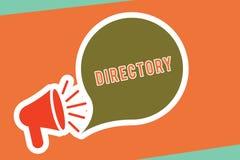 Textzeichen-Vertretung Verzeichnis Begriffsfotobuch oder -website, die alphabetisch Einzelpersonenorganisationen Megaphon mit auf stock abbildung