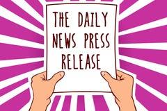 Textzeichen, welches die tägliche Nachrichten-Pressemitteilung zeigt Das Begriffsfoto, das gute Nachrichten ankündigt oder, sprec vektor abbildung