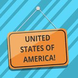 Textzeichen, welches die Vereinigten Staaten von Amerika zeigt Begriffsfoto Land im Nordhauptwashington dc-leeren Hängen vektor abbildung