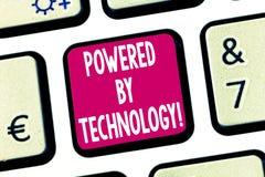 Textzeichenvertretung angetrieben durch Technologie Begriffsfoto Durchbruch führte zu die breite Kommerzialisierung Taste stockfotos