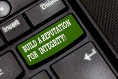 Textzeichenvertretung bauen ein Ansehen für Integrität auf Begriffsfoto erreichen das gute Feedback, das auf Ethik Taste basiert lizenzfreie stockfotos