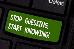 Textzeichenvertretung hören auf zu schätzen anfangen zu wissen Begriffsfoto schätzen nicht erhalten die Wissen um sicher zu sein  stockbild