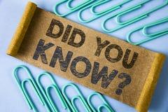 Textzeichenvertretung kannten Sie Frage Begriffsfoto, das nach Tatsachen des Informationen Lappalien-Wettbewerbs geschrieben auf  lizenzfreies stockfoto