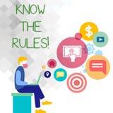 Textzeichenvertretung kennen die Regeln Begriffsfoto verstehen, dass Bedingungen Rechtsberatung von Rechtsanwälte Mann erhalten vektor abbildung