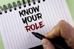Textzeichenvertretung kennen Ihre Rolle Begriffsfoto definieren Position in Arbeit oder Lebenslauf Lebenziele Active, der vom Man Lizenzfreies Stockbild
