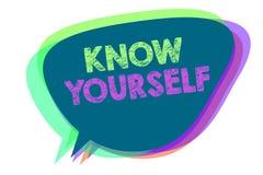 Textzeichenvertretung kennen sich Begriffsfoto Entdeckung Sie Verständnisstärke-und Schwäche-Identitäts-Spracheblase stock abbildung