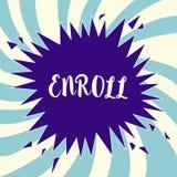 Textzeichenvertretung schreiben ein Begriffsfoto registrieren offiziell als Mitglied der Institution oder des Studenten auf Kurs lizenzfreie abbildung