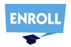 Textzeichenvertretung schreiben ein Begriffsfoto registrieren offiziell als Mitglied der Institution oder des Studenten auf Kurs stock abbildung