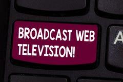 Textzeichenvertretung Sendungs-Netz-Fernsehen Begriffsfotomediendarstellung zerstreut über der Internet-Taste Absicht lizenzfreie abbildung