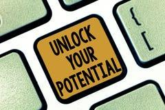 Textzeichenvertretung setzen Ihr Potenzial frei Begriffsfoto binden die Fähigkeiten los, die möglicherweise zu zukünftige Erfolg  stockbilder