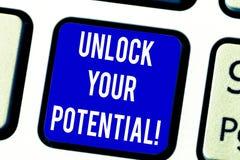 Textzeichenvertretung setzen Ihr Potenzial frei Begriffsfoto binden die Fähigkeiten los, die möglicherweise zu zukünftige Erfolg  lizenzfreie stockbilder
