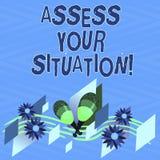 Textzeichenvertretung setzen Ihre Situation fest Begriffsfoto, das eine Situation beurteilt, nach anvisiert allen Informationen b vektor abbildung