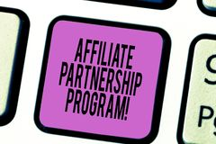 Textzeichenvertretung Teilnehmer-Partnerschafts-Programm Begriffsfoto gemeinsam jede andere Produkte Taste Absicht zu fördern lizenzfreie abbildung