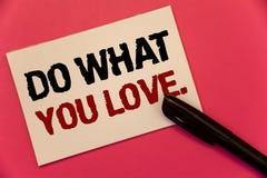 Textzeichenvertretung tun, was Sie lieben Begriffsfoto positive Wortanmerkung Desire Happiness Interest Pleasure Happys auserlese lizenzfreie stockbilder