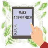Textzeichenvertretung unterscheiden Begriffsfoto haben erhebliche Auswirkung oder nicht auf das Demonstrieren oder Situation stock abbildung