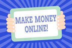 Textzeichenvertretung verdienen Geld on-line Begriffsfoto, das Gewinn unter Verwendung des Internets wie freiberuflich t?tig seie lizenzfreie abbildung
