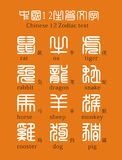 textzodiac för kines 12 vektor illustrationer