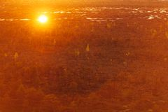 Teychi Nature Reserve. Aerial view of a beautiful swamp at sunset. stock image