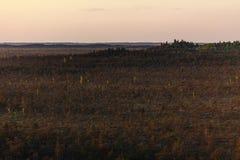 Teychi rezerwat przyrody Widok z lotu ptaka piękny bagno przy zmierzchem obrazy stock