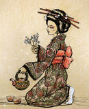 Tezeremonie in der japanischen Art: Geisha mit Teekanne lizenzfreie abbildung